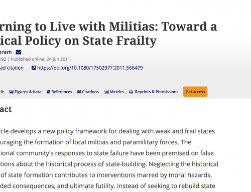 Journal of Intervention and Statebuilding: Learning to Live with Militias: Toward a Critical Policy on State Frailty